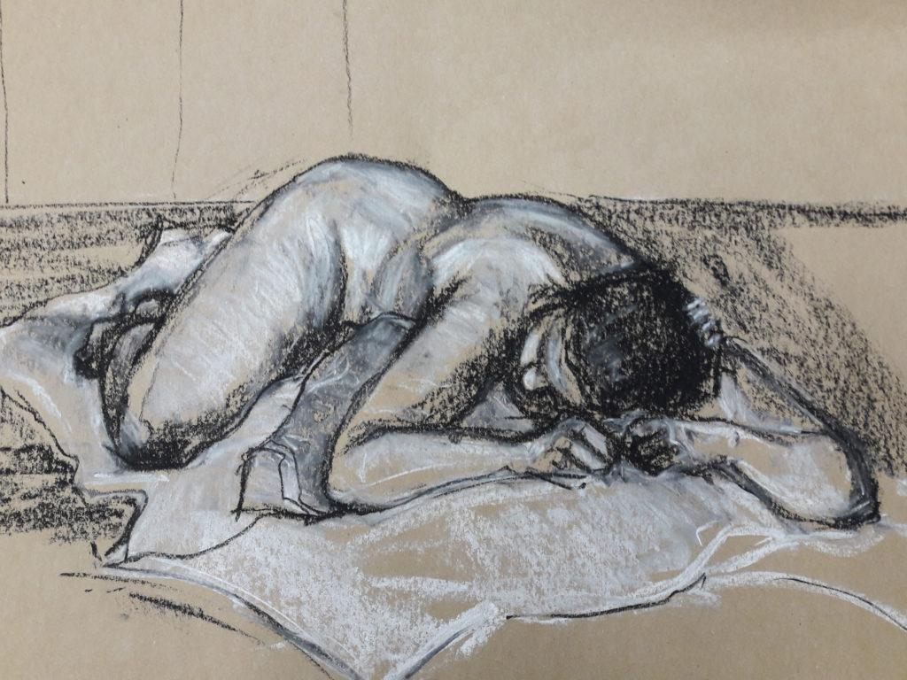 20-minute study in pastel and chalk on brown paper