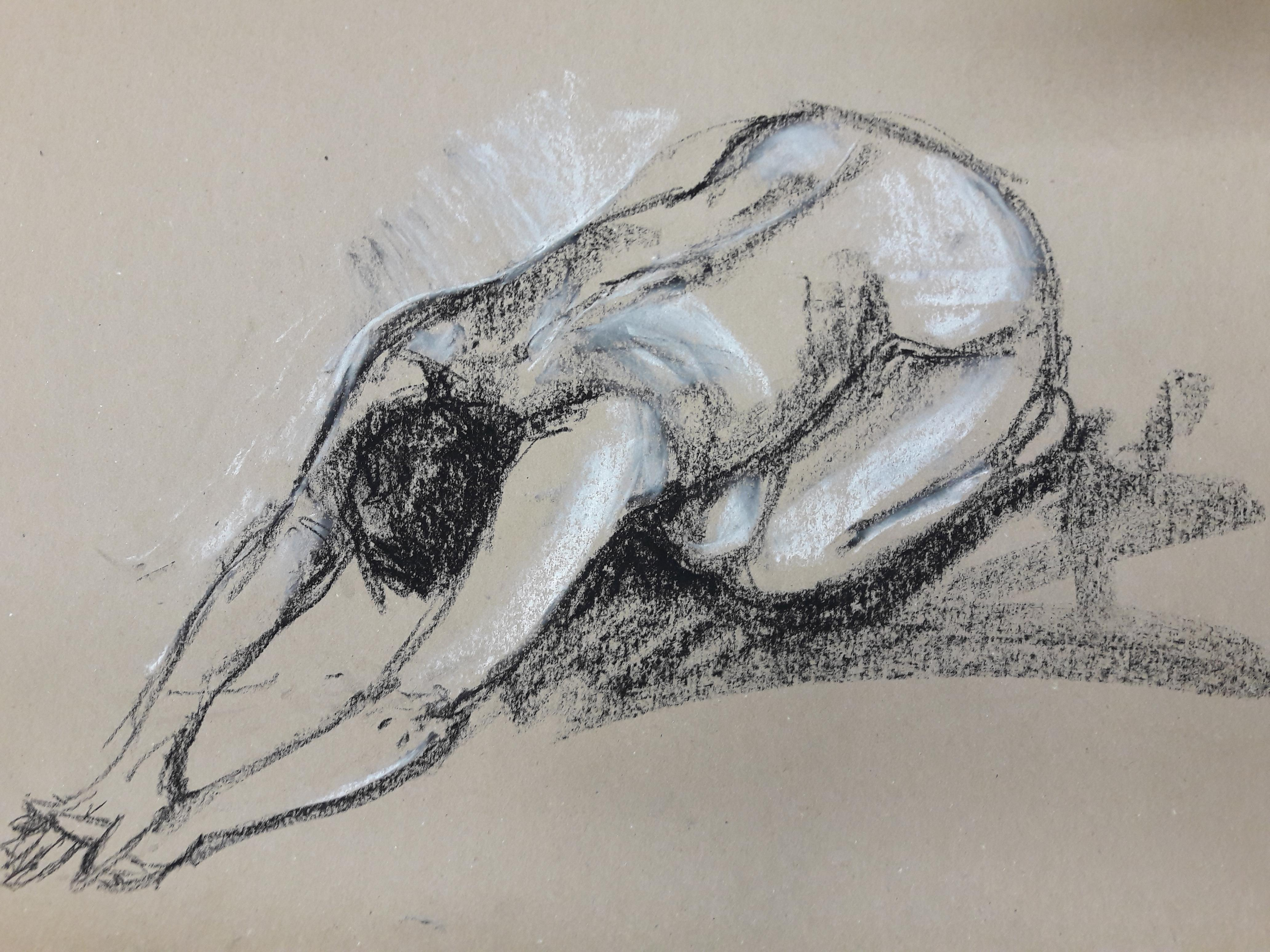 5-minute study in pastel on brown paper