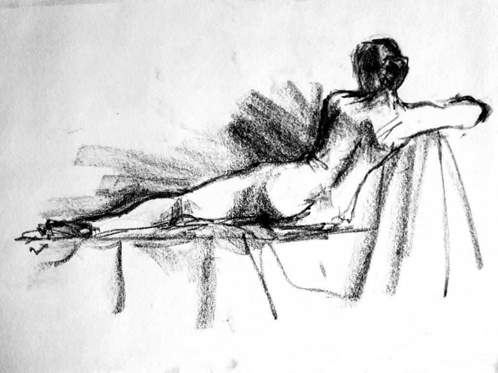 Life Drawing Live sketch in charcoal – 6-minute pose