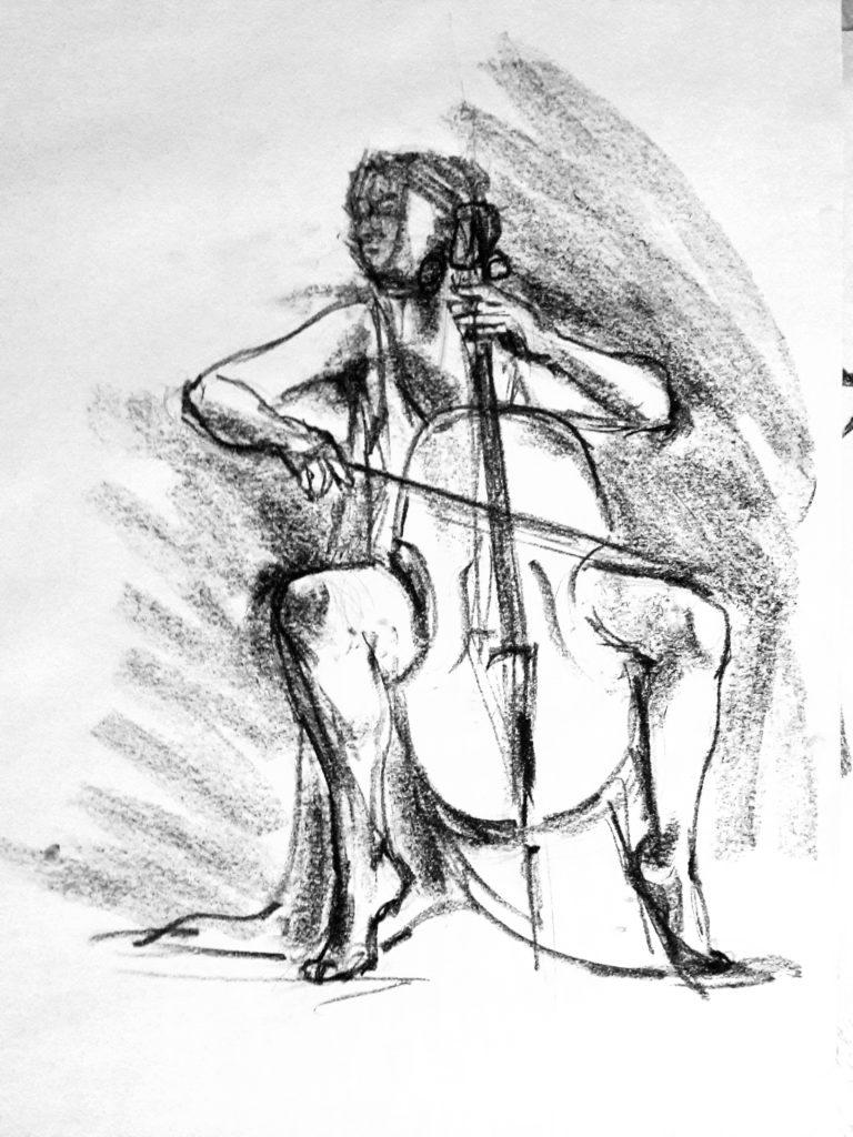 Life Drawing Live sketch in charcoal – 12-minute pose