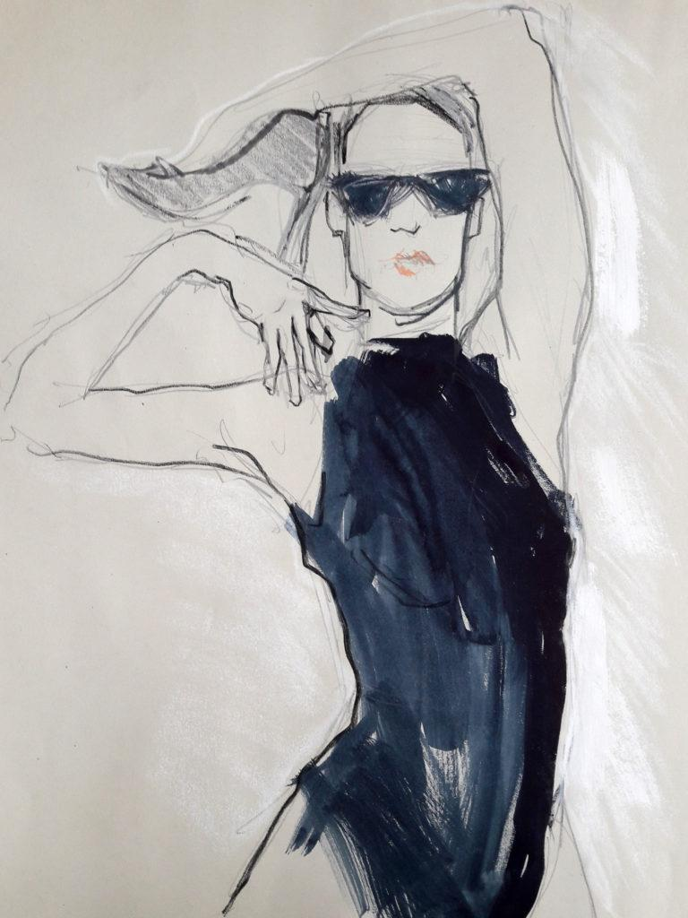 Vogue Life Drawing, online session. 10-minute pose in water soluble graphite, ink and acrylic