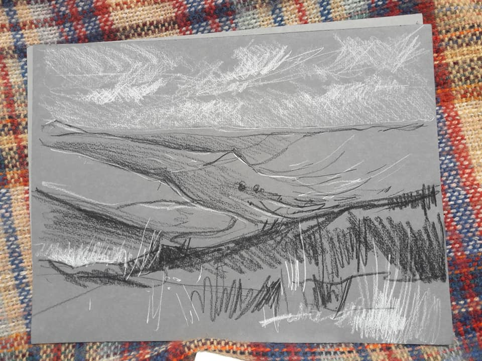 Rosedale, looking down from the north end. Charcoal and chalk pencils