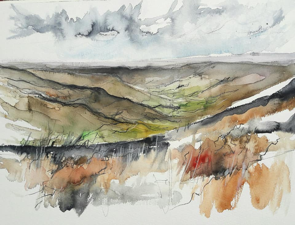 Rosedale, looking down from the north end. Graphite and watercolour on paper