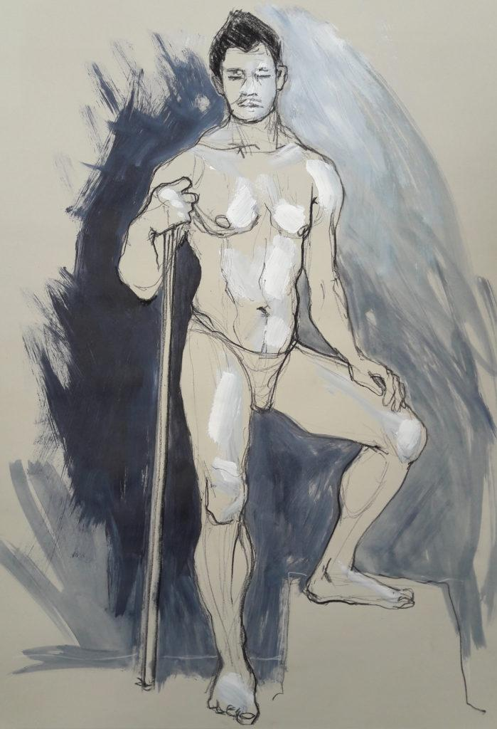 The Renaissance Workshop. 20-minute pose in charcoal pencil and acrylic (model: David Wan)