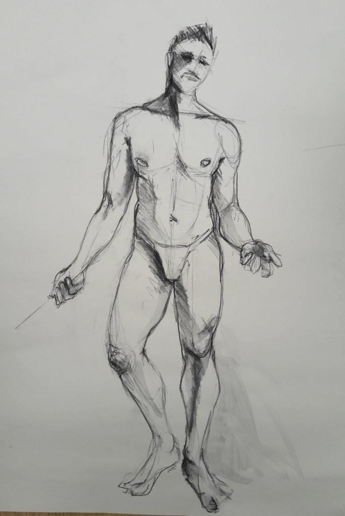 The Renaissance Workshop. 5-minute pose in charcoal pencil and graphite (model: David Wan)
