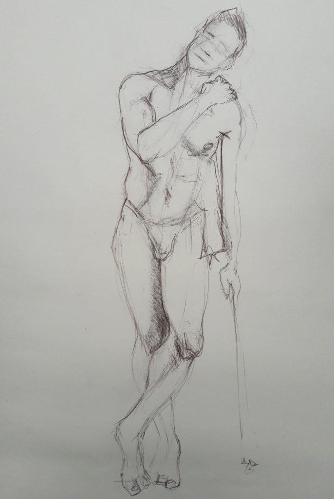 The Renaissance Workshop. 5-minute pose in pencil (model: David Wan)