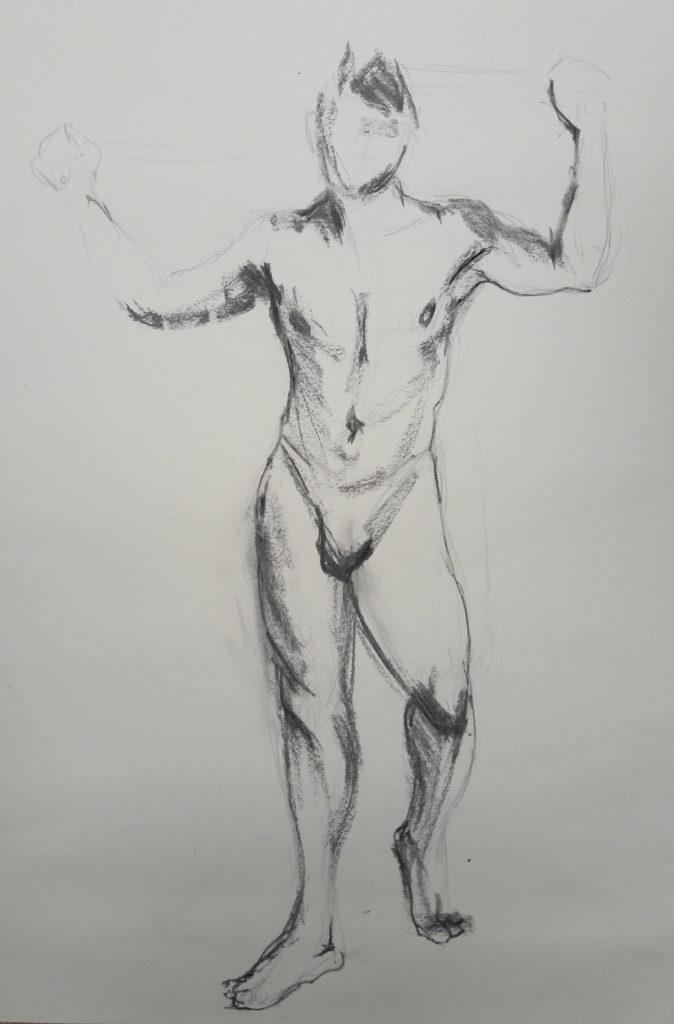 The Renaissance Workshop. 5-minute pose in charcoal (model: David Wan)