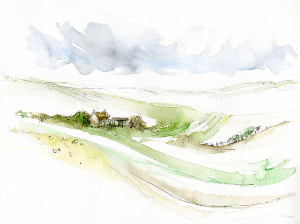 Near Wharram Percy. Watercolour and graphite on paper