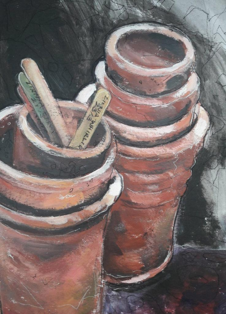 Potting On. Study in acrylic, charcoal and chalk on paper