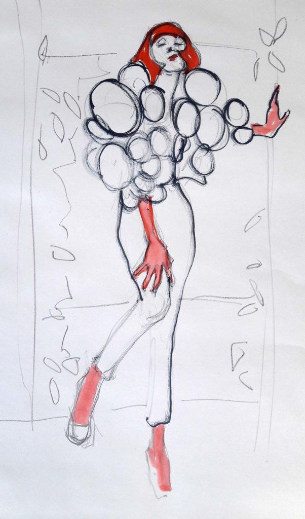 Drawing Cabaret Couture online session. 5-minute pose in graphite and ink (model: Janet Mayer)