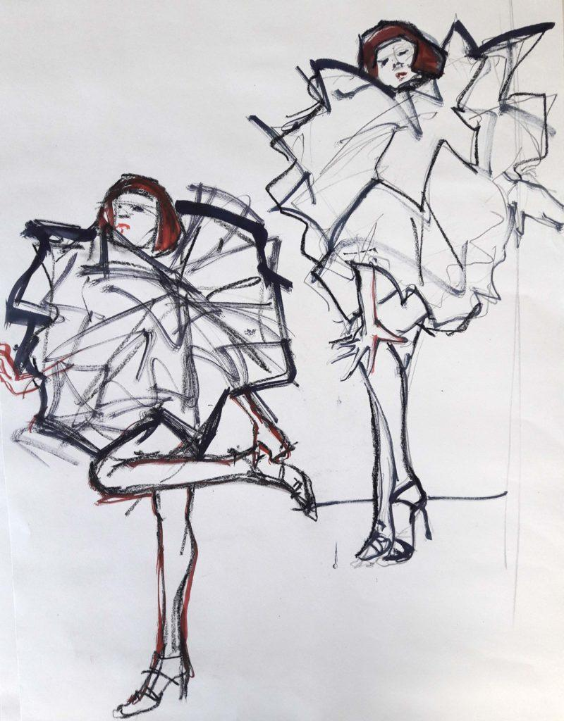 Drawing Cabaret Couture online session. 5-minute poses in graphite, pastel and ink (model: Janet Mayer)