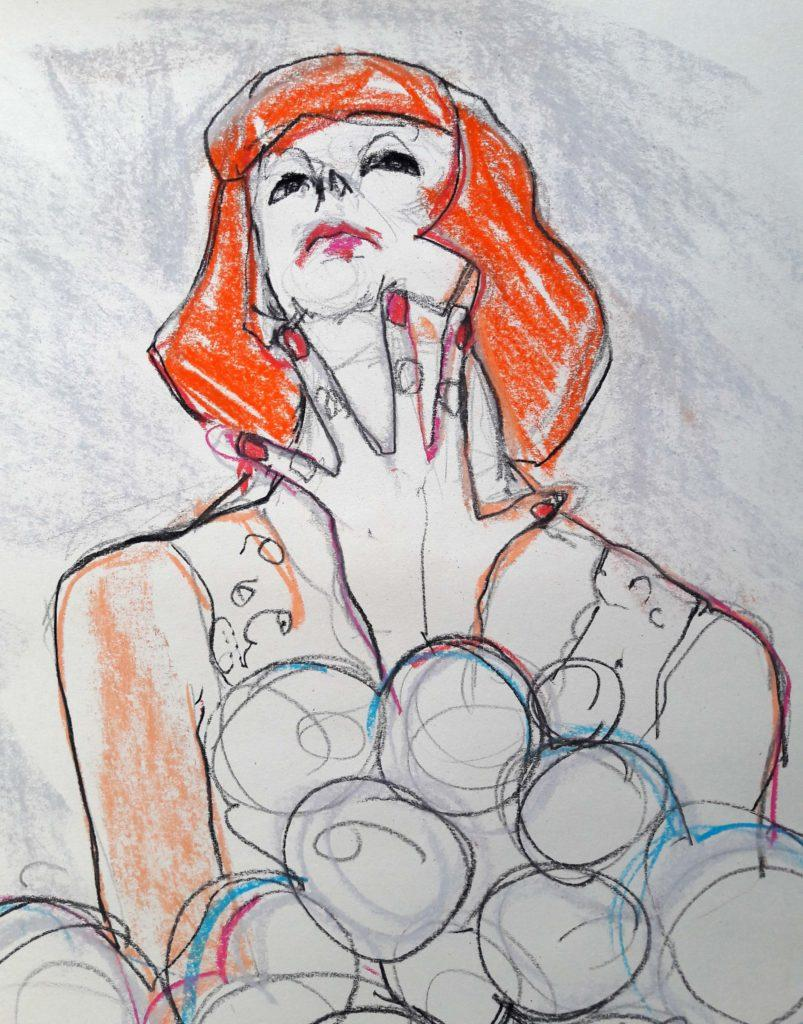 Drawing Cabaret Couture online session. 15-minute pose in graphite and pastel (model: Janet Mayer)