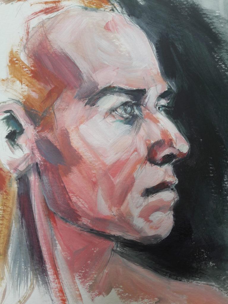 Online portrait study of @modbodadrian. Acrylic on paper