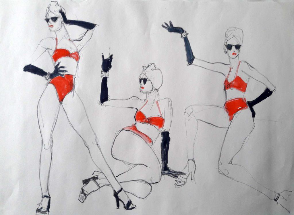 1950s Life Drawing, online session. 5-minute poses in water soluble graphite and ink (model: Ami Benton)