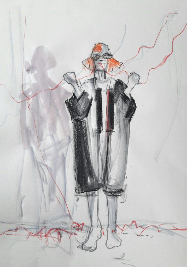 Drawing Cabaret Couture online session. 10-minute pose in graphite and ink (model: Janet Mayer, fashion: IA London)