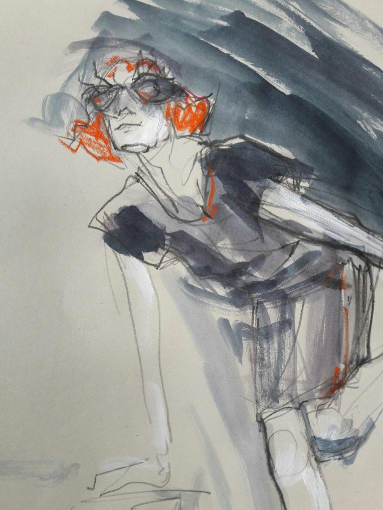 Drawing Cabaret Couture online session. 3-minute pose in graphite and ink (model: Janet Mayer, fashion: IA London)