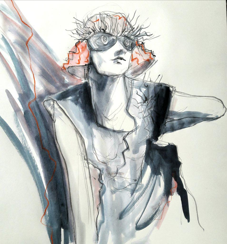 Drawing Cabaret Couture, online session. 10-minute pose in water soluble graphite and ink (model: Janet Mayer, fashion: IA London)