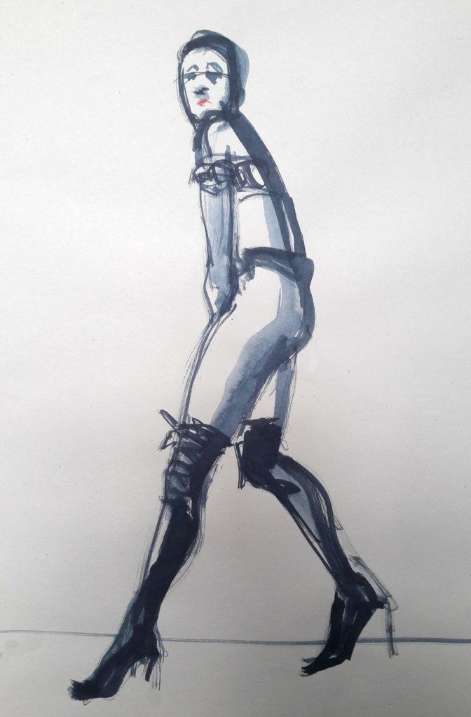 1980s fashion, online session. 3-minute pose in ink. (Model: Ami Benton)