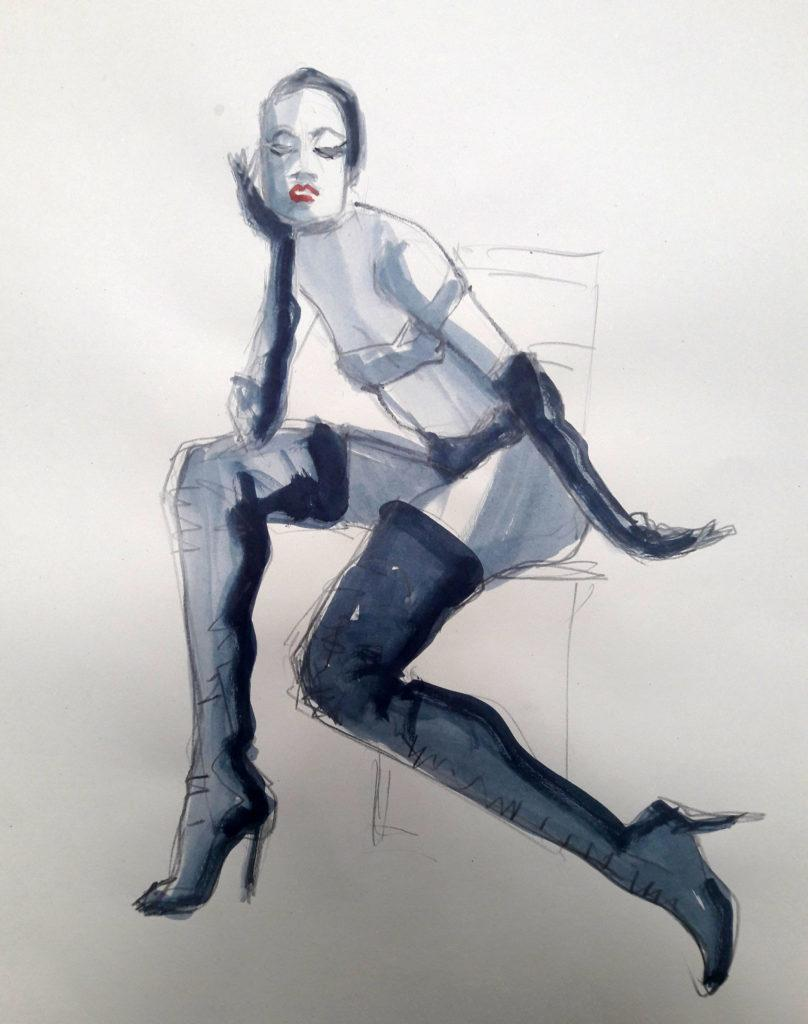 1980s fashion, online session. 5-minute pose in graphite and ink. (Model: Ami Benton)