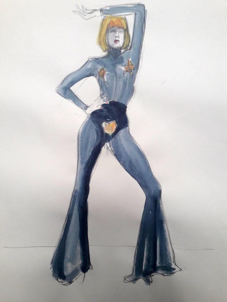 1980s fashion, online session. 10-minute pose in graphite and ink. (Model: Ami Benton)