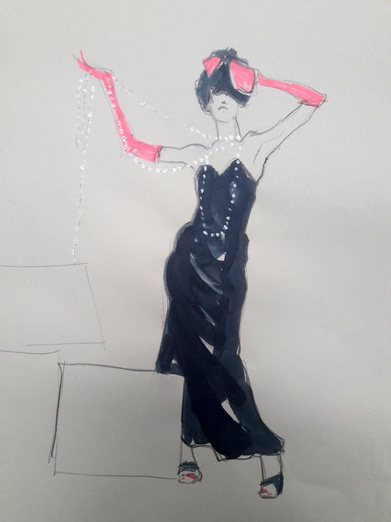 1980s fashion, online session. 10-minute pose in graphite, ink and highlighter pen. (Model: Ami Benton)