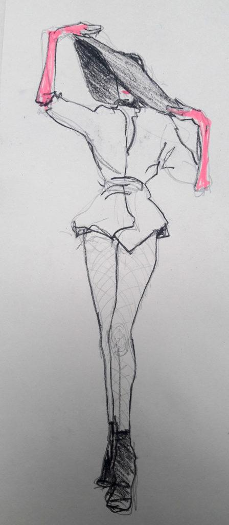 1980s fashion, online session. 3-minute pose in graphite, charcoal pencil and highlighter pen. (Model: Ami Benton)