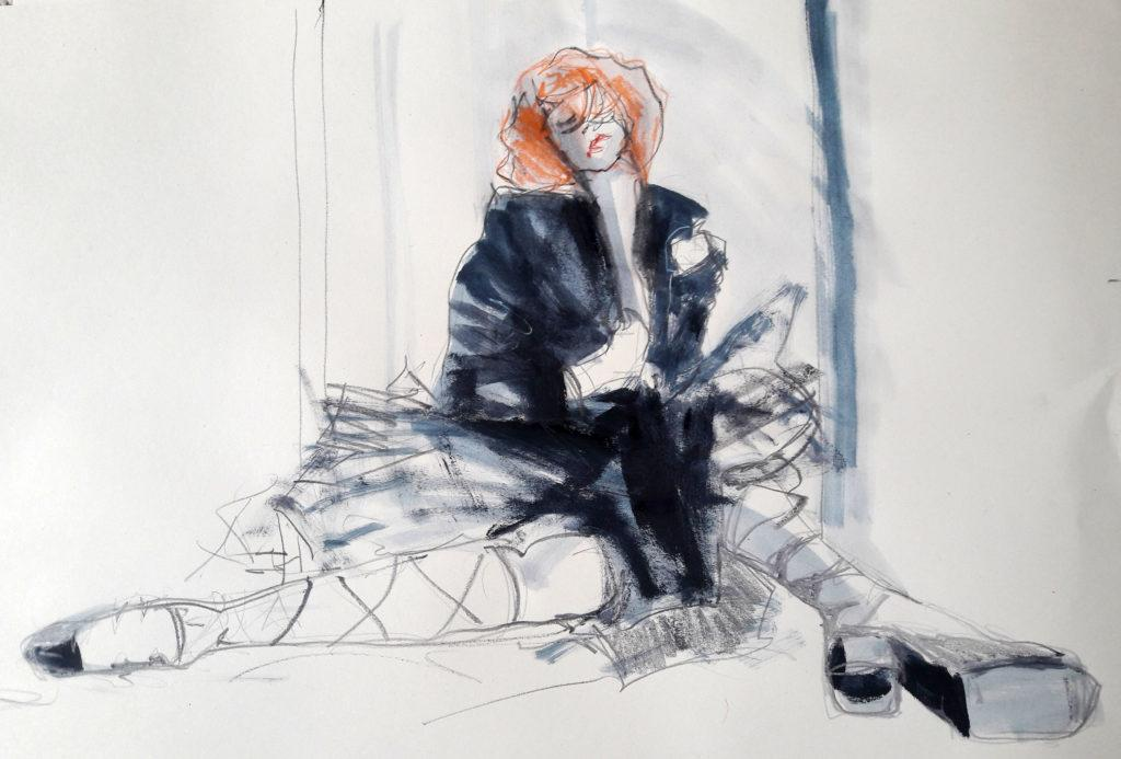 Online session with Drawing Cabaret Couture. 10-minute pose in graphite, ink, acrylic and pastel. (Model: Janet mayer, Fashion by Antonia Nae Designs and shoes by Natacha Marro London)