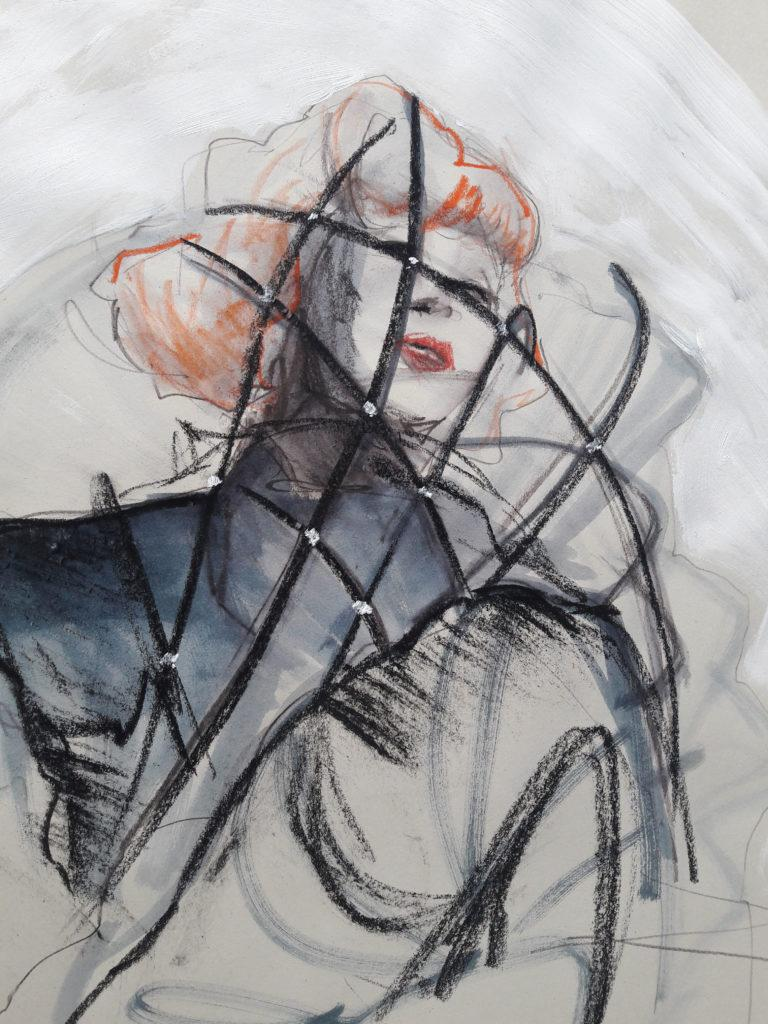 Online session with Drawing Cabaret Couture. 15-minute pose in graphite, ink, acrylic and pastel. (Model: Janet mayer, Fashion by Antonia Nae Designs and shoes by Natacha Marro London)