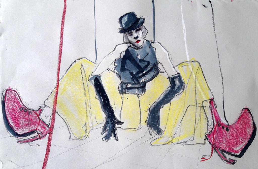 Online session with Drawing Cabaret Couture. 10-minute pose in graphite, ink and pastel. (Model: Janet Mayer, Fashion by Hallava Girl and shoes by Natacha Marro London)