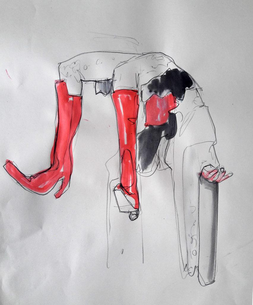 Online session with Drawing Cabaret Couture. 5-minute pose in graphite, ink and pastel. (Model: Janet Mayer, Fashion by Hallava Girl and shoes by Natacha Marro London)