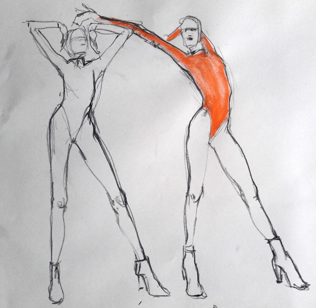 Studio 54 online session. 2-minute poses in graphite, charcoal, ink and pastel. (Model: Ami Benton)