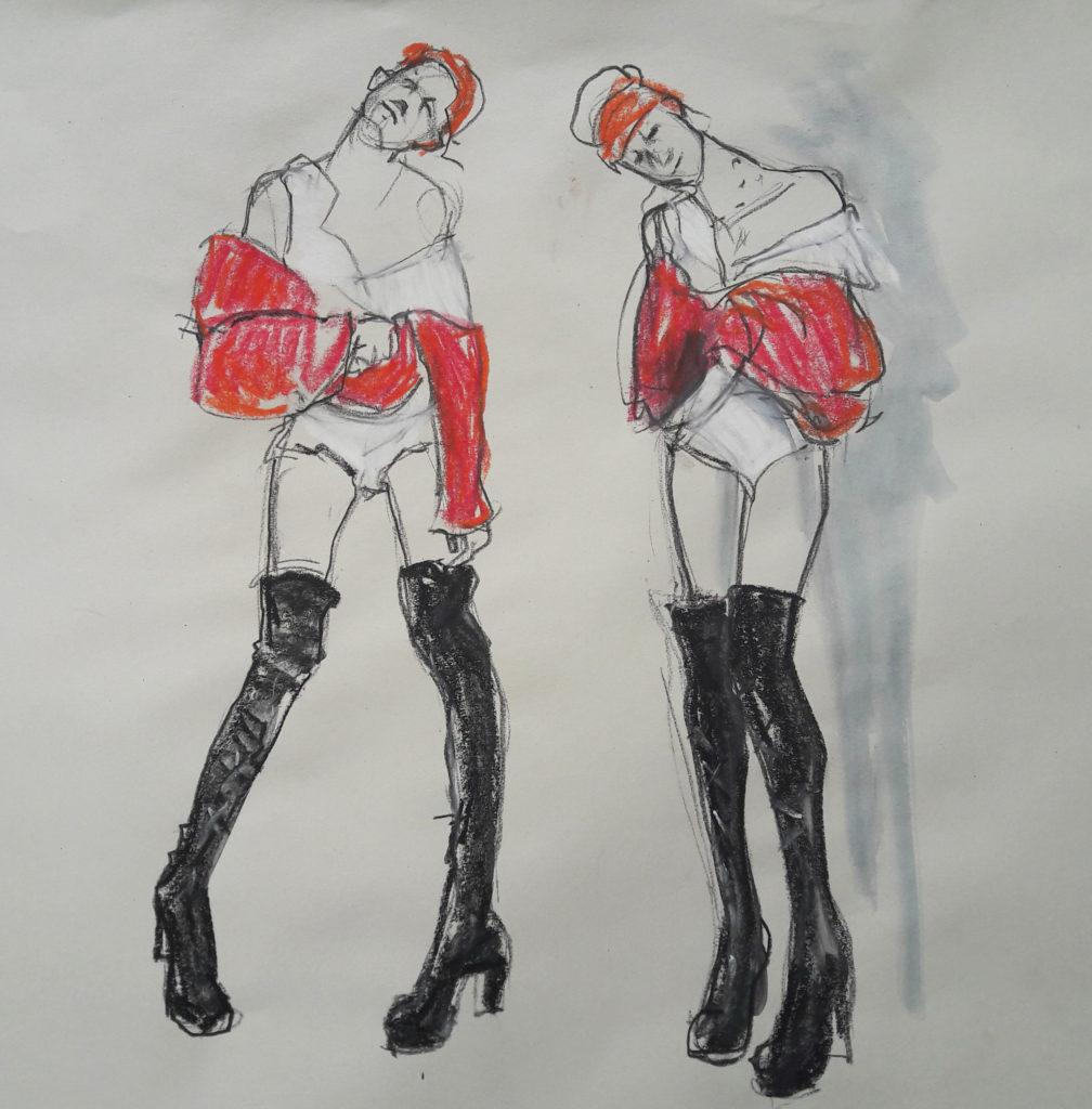 Online session with Drawing Cabaret Couture. 3-minute poses in charcoal, ink and pastel. (Model: Janet Mayer, Sets: Matthew Lawrence, fashion by Robe Sylphide and shoes by Natacha Marro London)