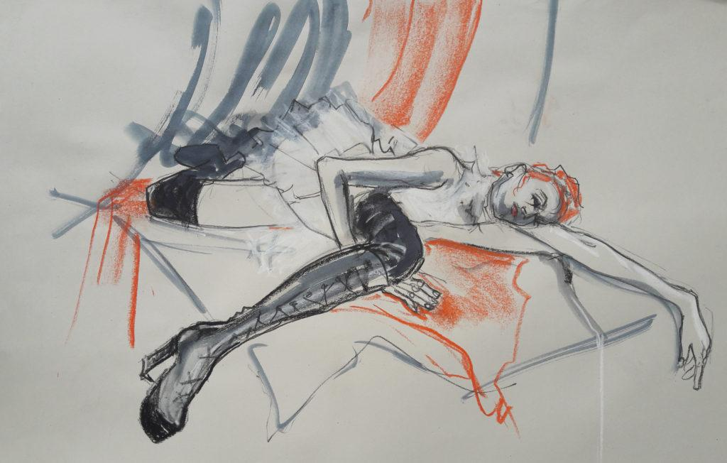 Online session with Drawing Cabaret Couture. 20-minute pose in charcoal, ink and pastel. (Model: Janet Mayer, Sets: Matthew Lawrence, fashion by Robe Sylphide and shoes by Natacha Marro London)