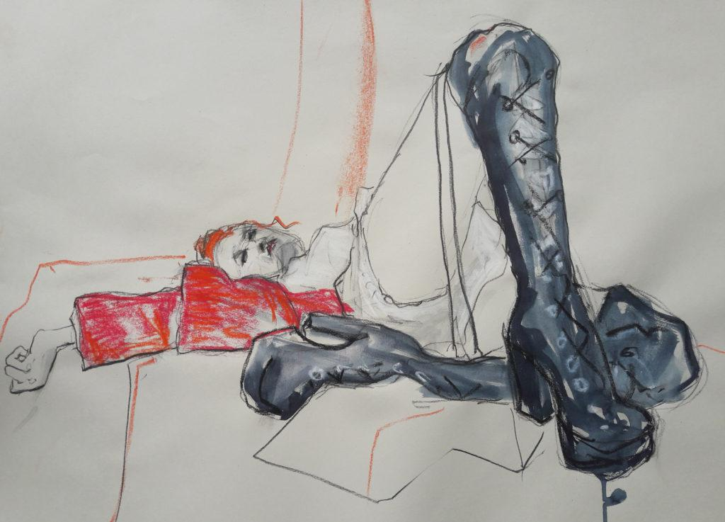 Online session with Drawing Cabaret Couture. 10-minute pose in charcoal, ink and pastel. (Model: Janet Mayer, Sets: Matthew Lawrence, fashion by Robe Sylphide and shoes by Natacha Marro London)
