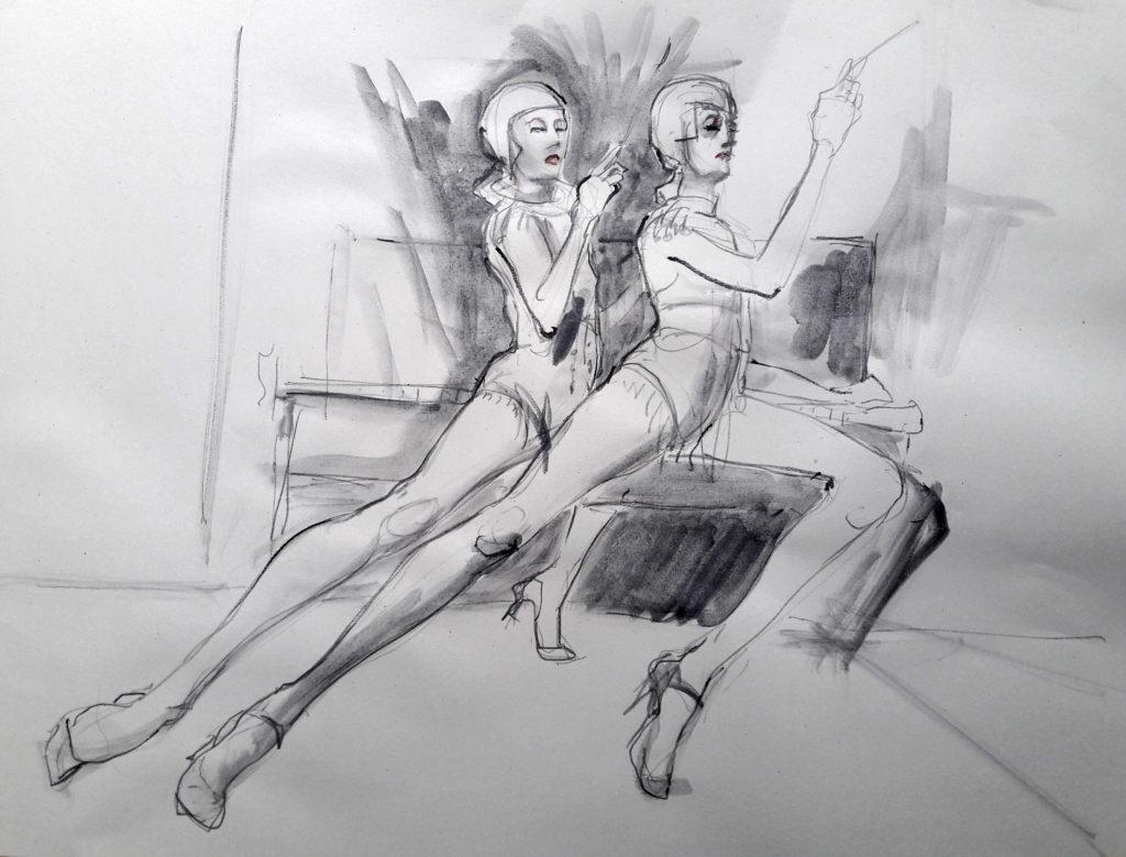Online session at Drawing Cabaret Couture. 20-minute pose (Models: J'Adore La Vie – Ami Benton and Janet Mayer)