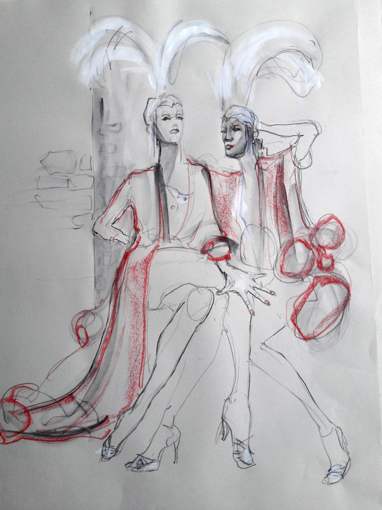 Online session at Drawing Cabaret Couture. 10-minute pose (Models: J'Adore La Vie – Ami Benton and Janet Mayer)