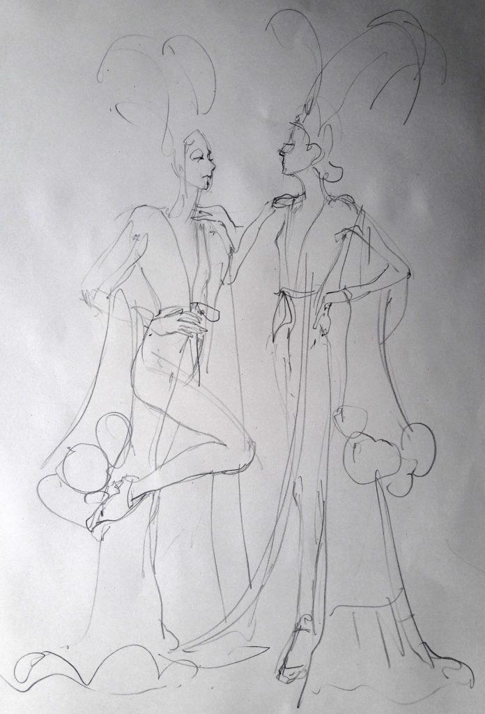 Online session at Drawing Cabaret Couture. 5-minute pose (Models: J'Adore La Vie – Ami Benton and Janet Mayer)