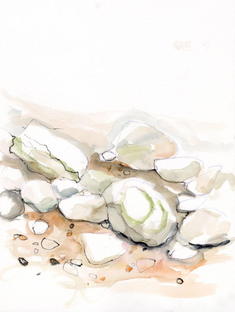 Chalk Stones, Thornwick Bay. En plein air work on paper.