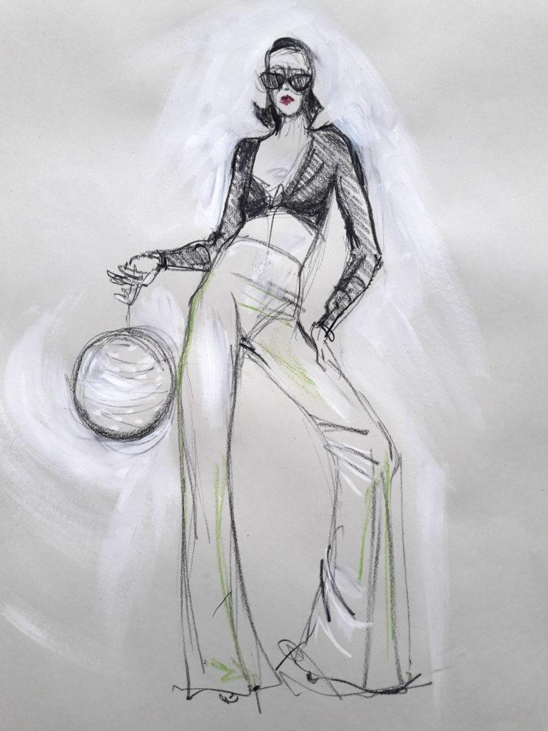 Studio 54 online session. 10-minute pose in graphite, charcoal and pastel. (Model: Ami Benton)