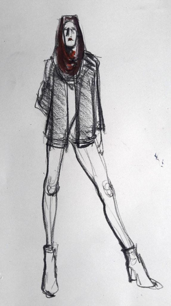 Studio 54 online session. 1-minute pose in charcoal and ink. (Model: Ami Benton)