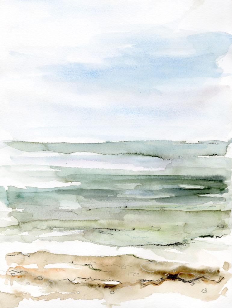 Sea over chalk stone, Thornwick Bay