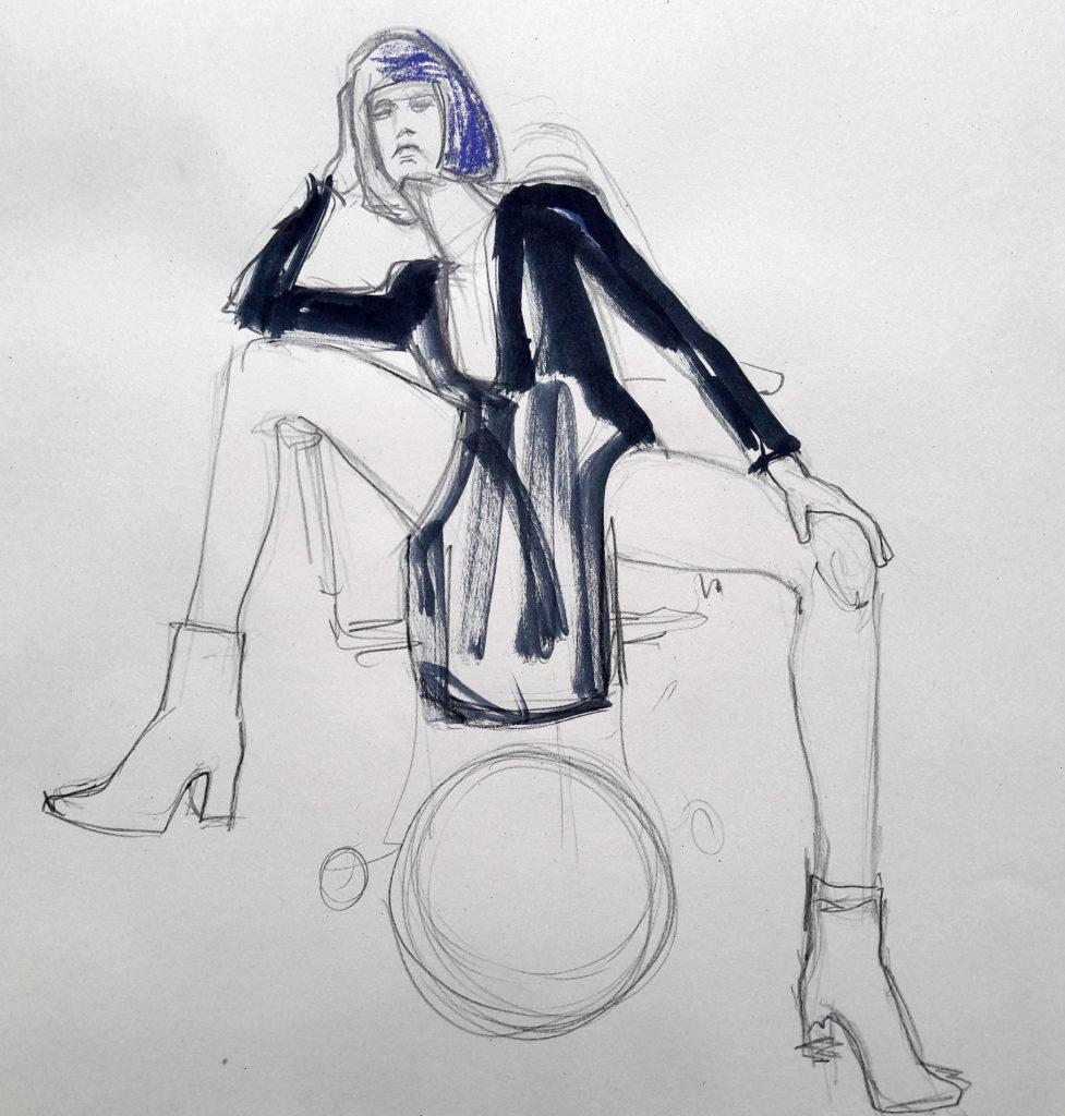 Studio 54 online session. 10-minute pose in graphite, charcoal, ink and pastel. (Model: Ami Benton)