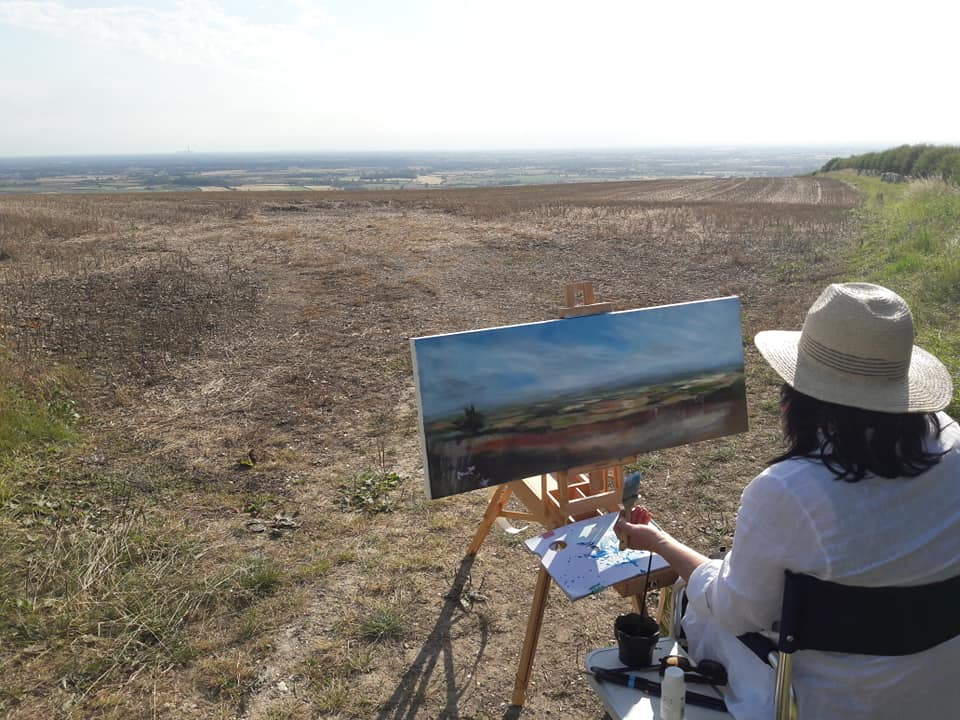 Painting en plein air on a scorching August day