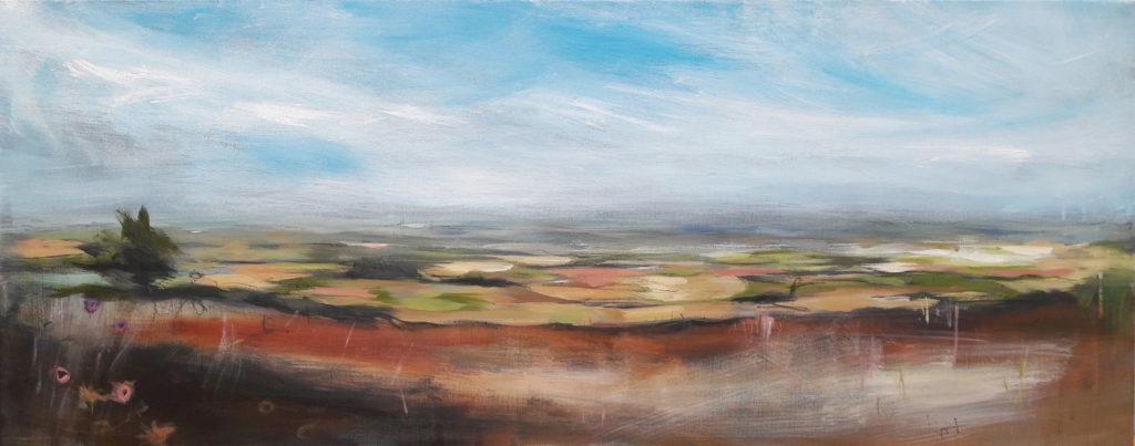 'Garrowby Hill: August'. Large en plein air painting in acrylic on deep canvas. £890
