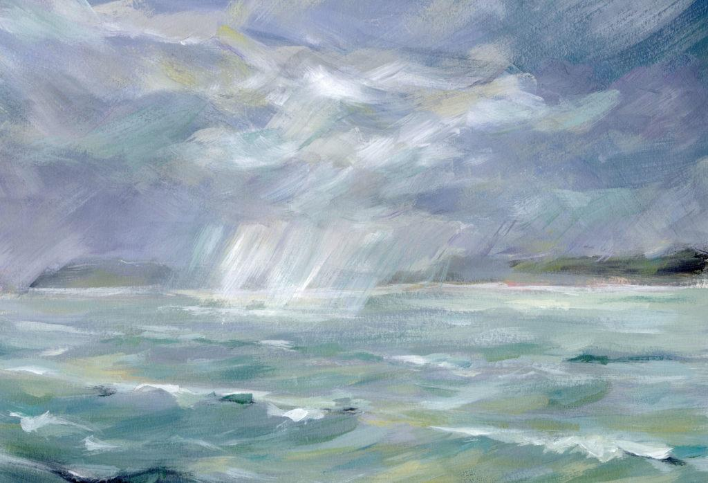 Rain over the Strait. The great Orme, far left
