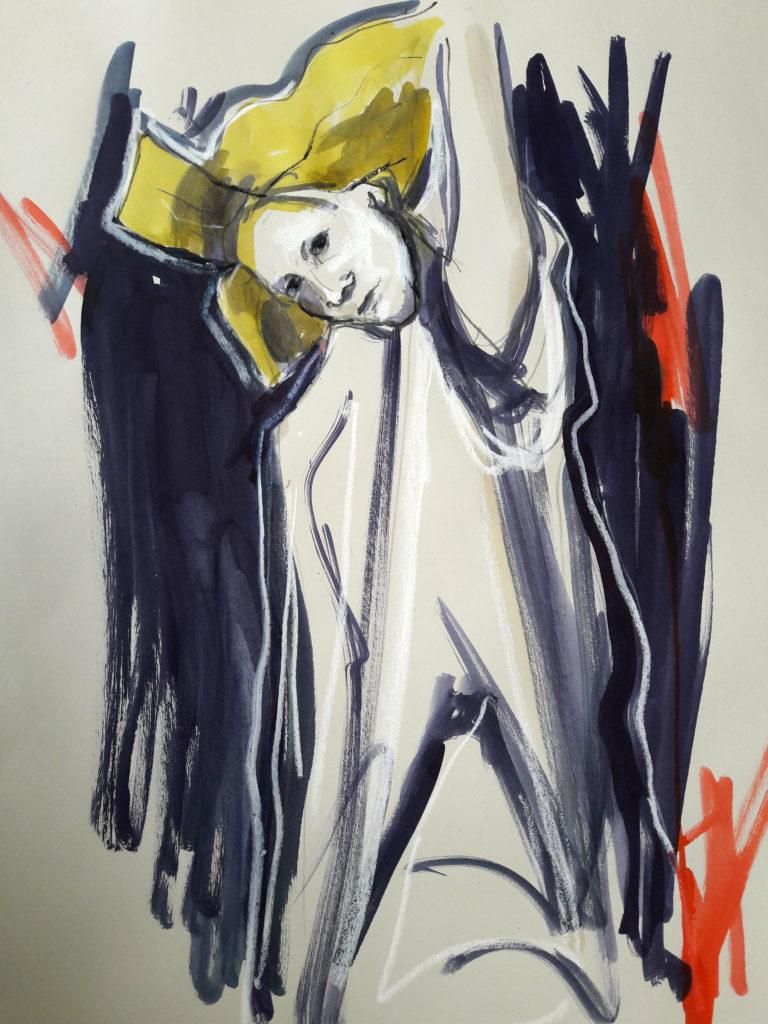 The Girl Who Collected Memories. Online life drawing with Drawing Cabaret Couture. 10 minute pose in ink, pastel and charcoal (Model: Janet Mayer, sets and direction: Mathew Lawrence, designers: A1 London, Indira at Toni & Guy)