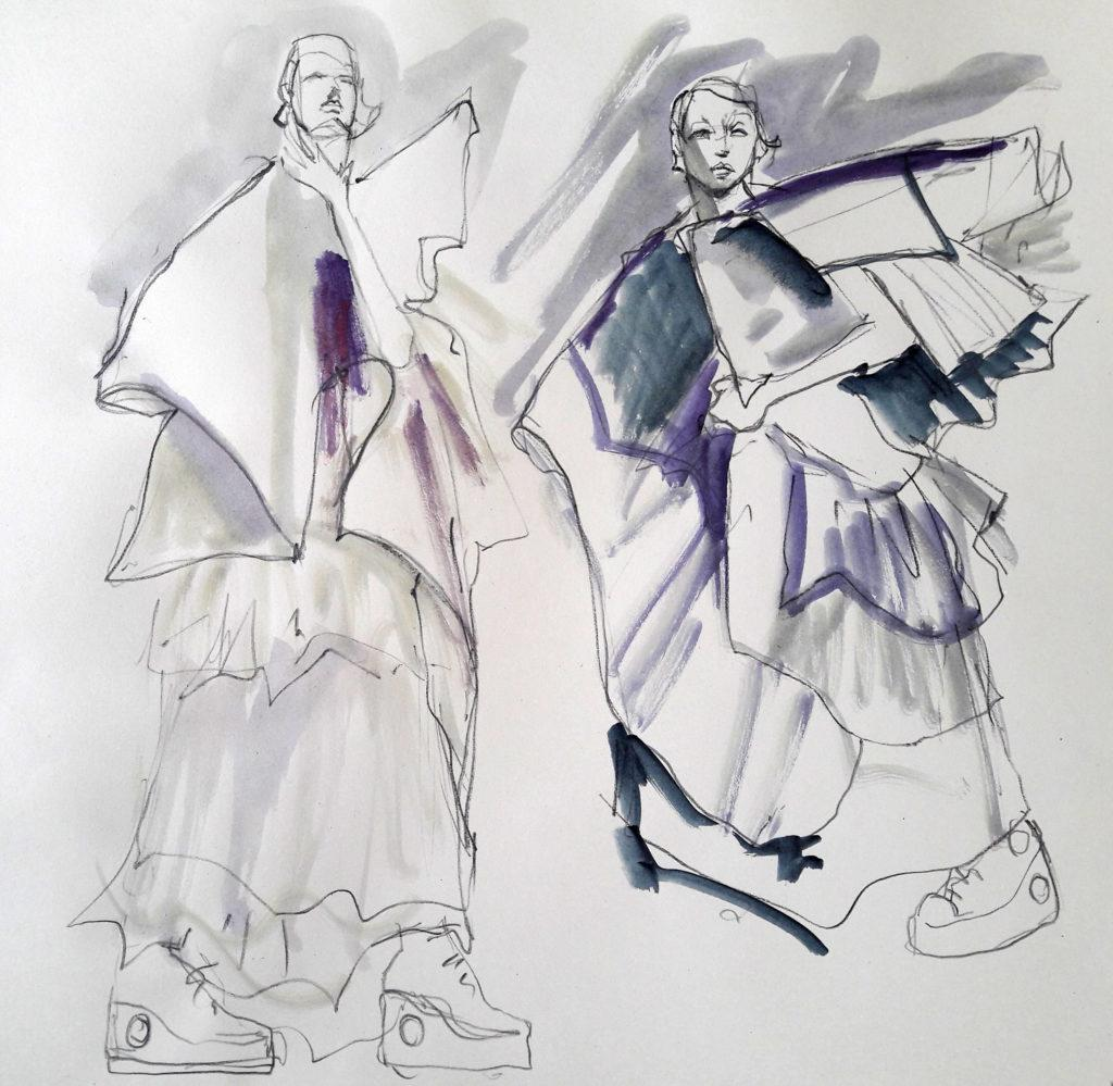 Online life drawing with Drawing Cabaret Couture. 2 minute poses in ink and charcoal (Model: Janet Mayer, sets and direction: Mathew Lawrence, designers: @guannabie and @isabellamarsshoes)