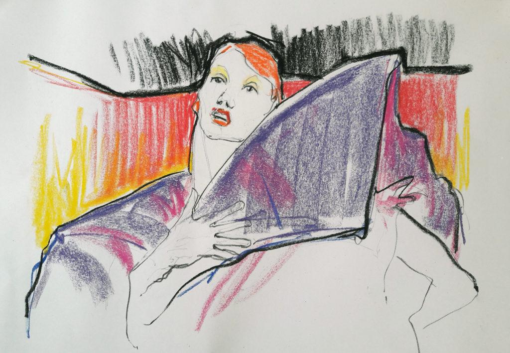 Online life drawing with Drawing Cabaret Couture. 5 minute pose in ink and charcoal (Model: Janet Mayer, sets and direction: Mathew Lawrence, designers: @guannabie and @isabellamarsshoes)