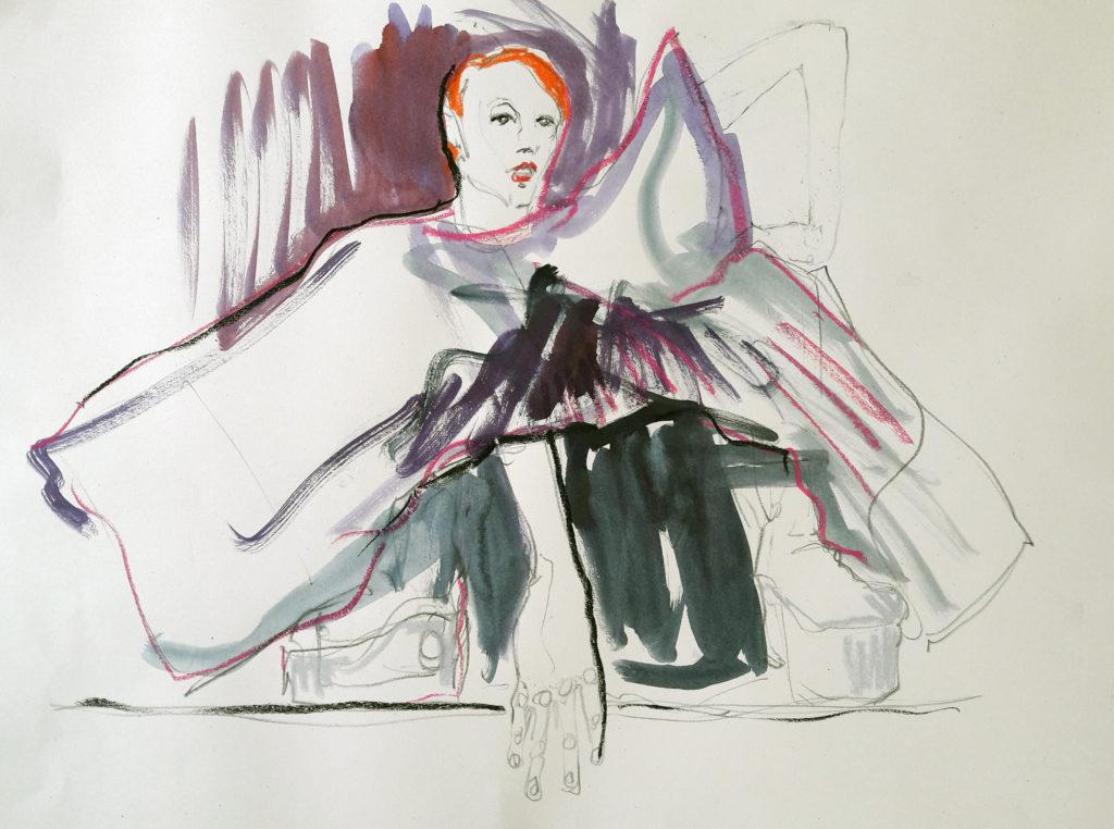 Online life drawing with Drawing Cabaret Couture. 10 minute poses in ink and charcoal (Model: Janet Mayer, sets and direction: Mathew Lawrence, designers: @guannabie and @isabellamarsshoes)
