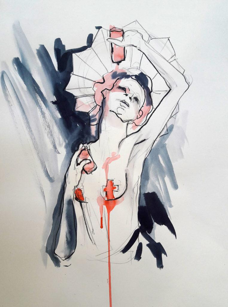 CRUCIFIX. Online life drawing with Drawing Cabaret Couture. 5 minute pose in ink and charcoal (Model: Janet Mayer, sets and direction: Mathew Lawrence, fashion: Hellavagirl Studios, millinery: Sweet'n'Twisted)
